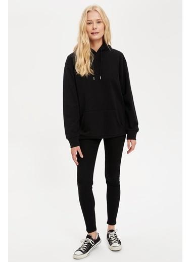 DeFacto Kapüşonlu Regular Fit Basic Sweatshirt Siyah
